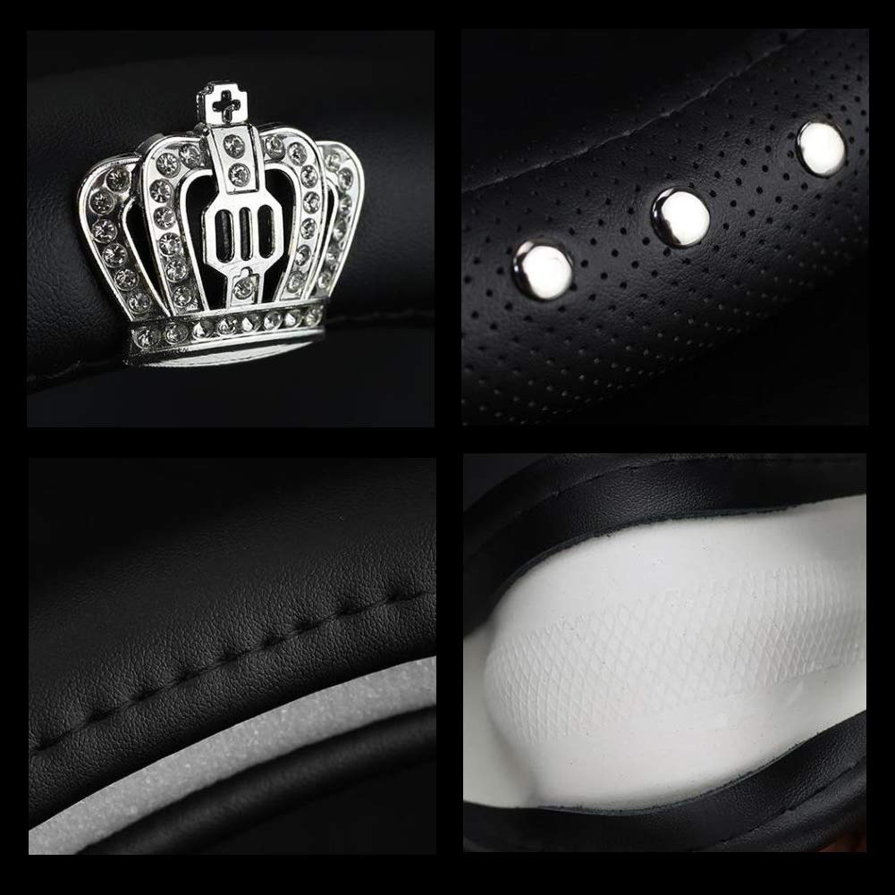 Alvaza Genuine Leather Car Steering Wheel Cover with Decorative Rivet and Bling Crystal Rhinestone Crown for Vehicles SUV Anti-Slip,Universal 15 Inch Breathable Black