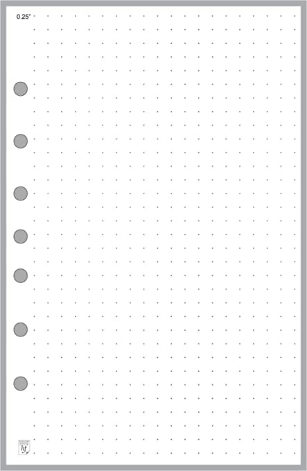 Classic Size Dot Grid Paper Refill, 5mm Spacing, Sized and Punched with 7  Holes for Franklin Covey Classic Notebook (5 5