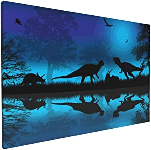 Aieefun Canvas Wall Decor Art Painting Print, Beautiful Landscape Nature Dinosaurs Silhouette Home Decoration Artwork Framed Picture Ready to Hang 12x18 Inches