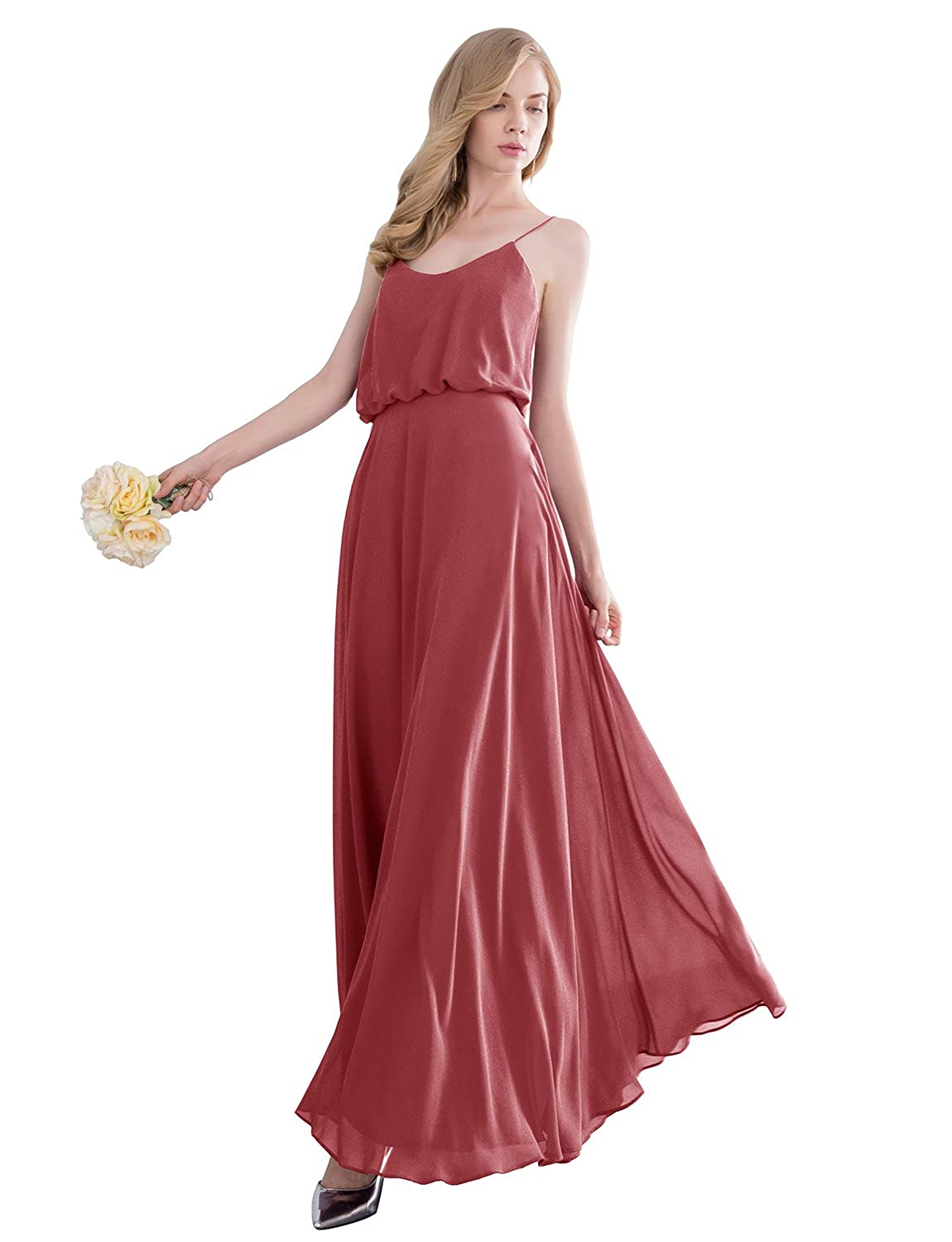 Ever girl womens bridesmaid chiffon prom dresses long evening gardenwed simple spaghetti straps flowy long bridesmaid dress formal dress ombrellifo Image collections