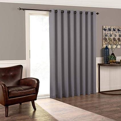 Amazoncom Osd 1pc 84 Grey Solid Color Sliding Door Curtain