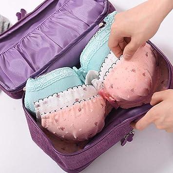 Globalqi - Bolsa para sujetador de ropa interior, multifuncional, gran capacidad, impermeable,
