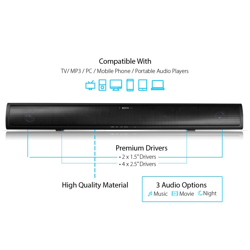 Amazoncom BÖHM W Sound Bar With Enhanced Bass Technology BT - 12 dumbest questions asked customers technicians 5 cracked