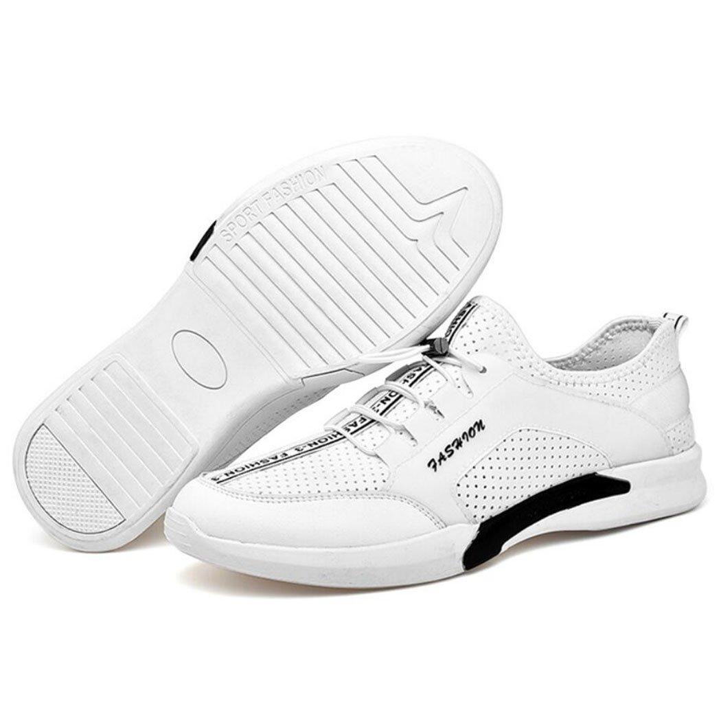 GAOLIXIA Zapatillas ligeras respirables de los hombres de la primavera y el verano de la PU Malla Deportes al aire libre Zapatos casuales Smart Running Entrenadores Atléticos Zapatos de gimnasia para caminar 38|Blanco