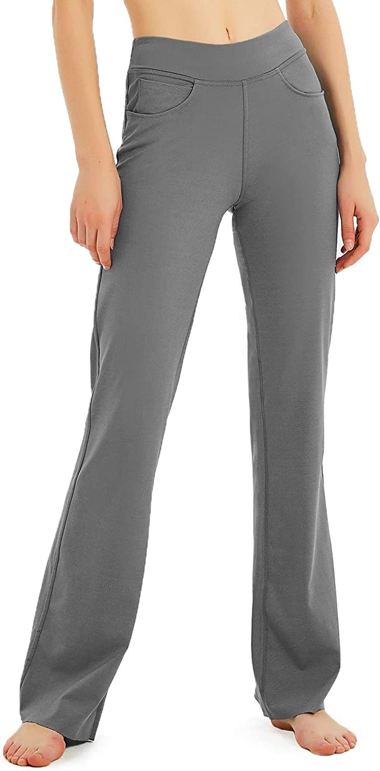 "Safort 28"" 30"" 32"" 34"" Inseam Regular Tall Bootcut Yoga Pants, 4 Pockets, UPF50+"
