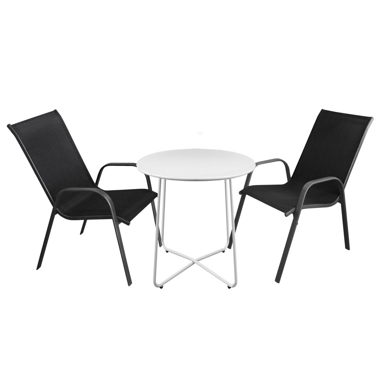 3tlg. Bistromöbel-Set Bistrotisch, Metall, Ø60cm, Weiß + 2x ...