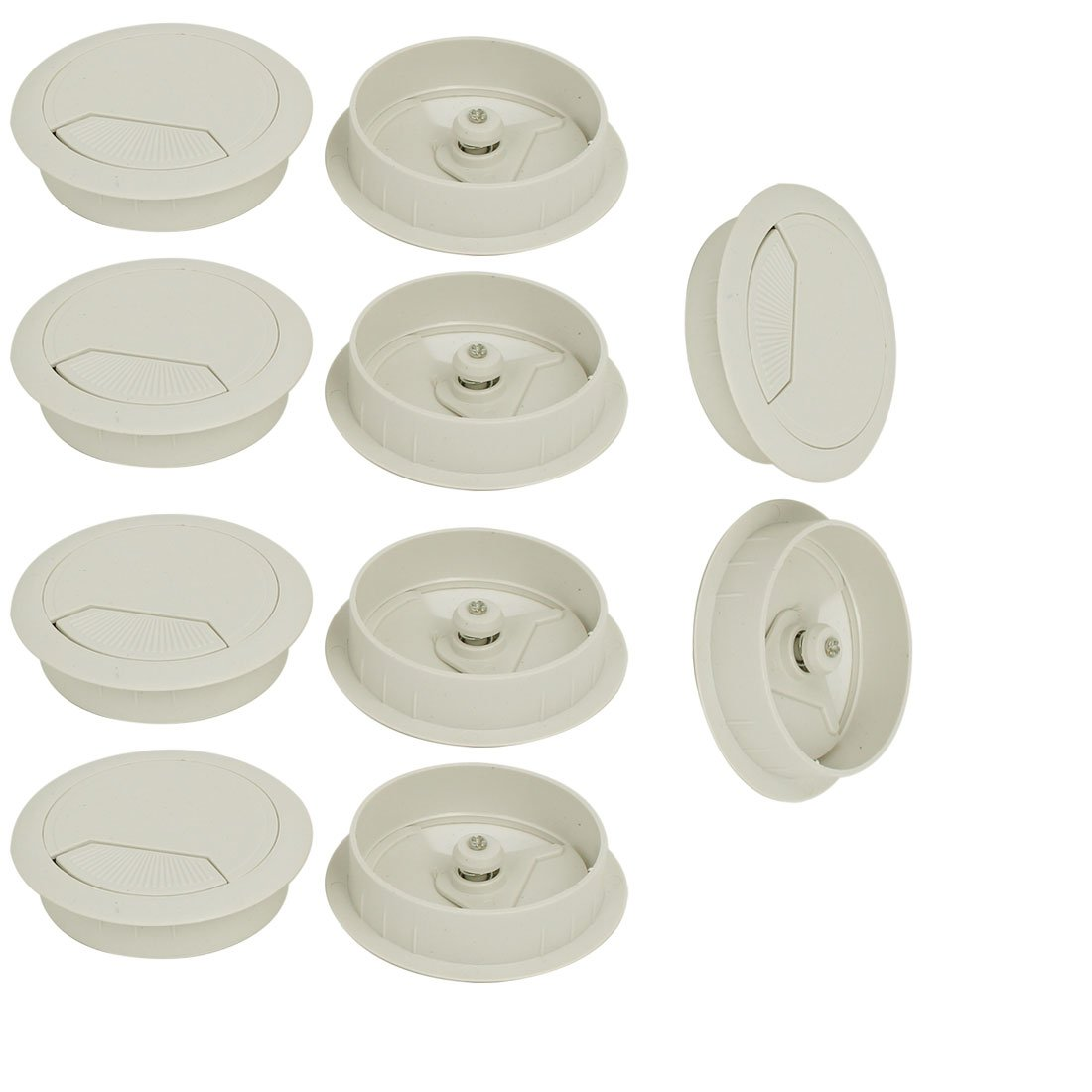 uxcell Computer Desk 60mm Dia Plastic Adjustable Grommet Cable Hole Cover White 10pcs