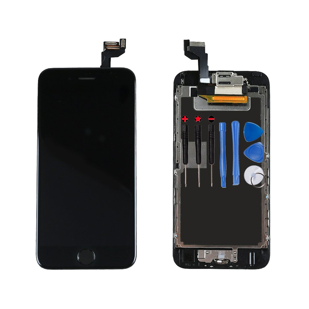 For iPhone 6s Digitizer Screen Replacement Black - Ayake 4.7'' Full LCD Display Assembly with Home Button, Front Facing Camera, Earpiece Speaker Pre Assembled and Repair Tool Kits
