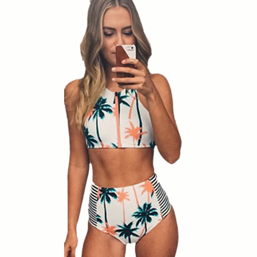 52e27a572b Amazon.com  Blooming Jelly Women s Coconut Tree Print High Waist Bikini Set  Bathing Suit  Clothing
