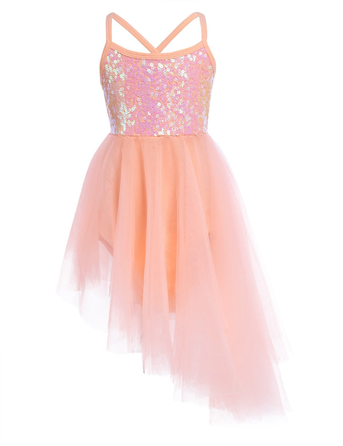 iiniim Kids Girls' Sleeveless Sequined Ballet Leotard Outfit Dance Tutu Dress, Hi-lo Orange, 5-6 by iiniim
