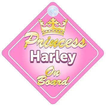 Crown Princess Harley On Board Personalised Baby Girl Car Sign