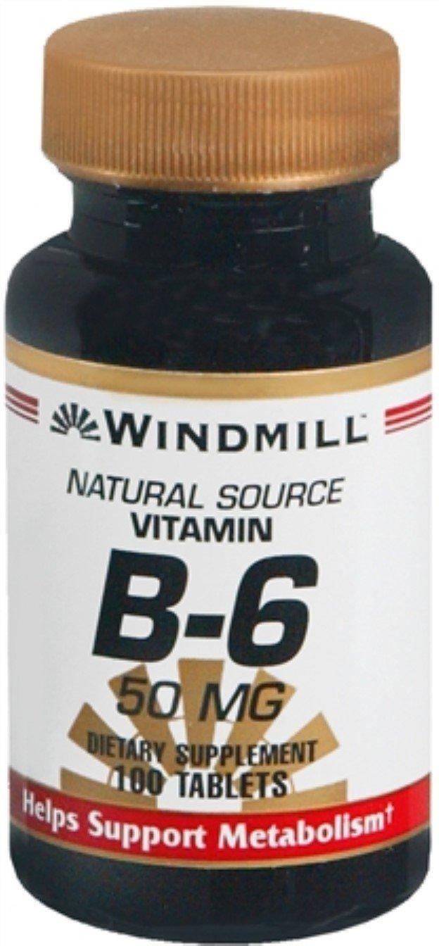 Windmill Vitamin B-6 50 mg Tablets 100 Tablets (Pack of 9)