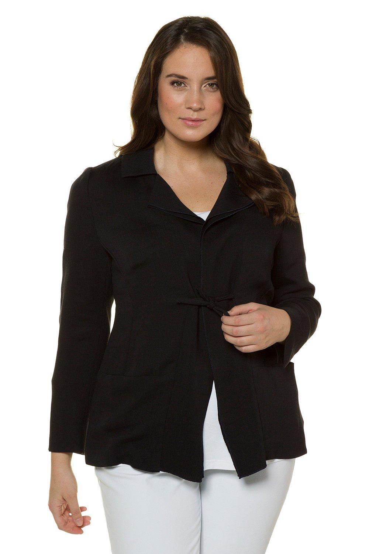 Ulla Popken Women's Plus Size Double Collar Blazer Volcanic Black 24 714586 10
