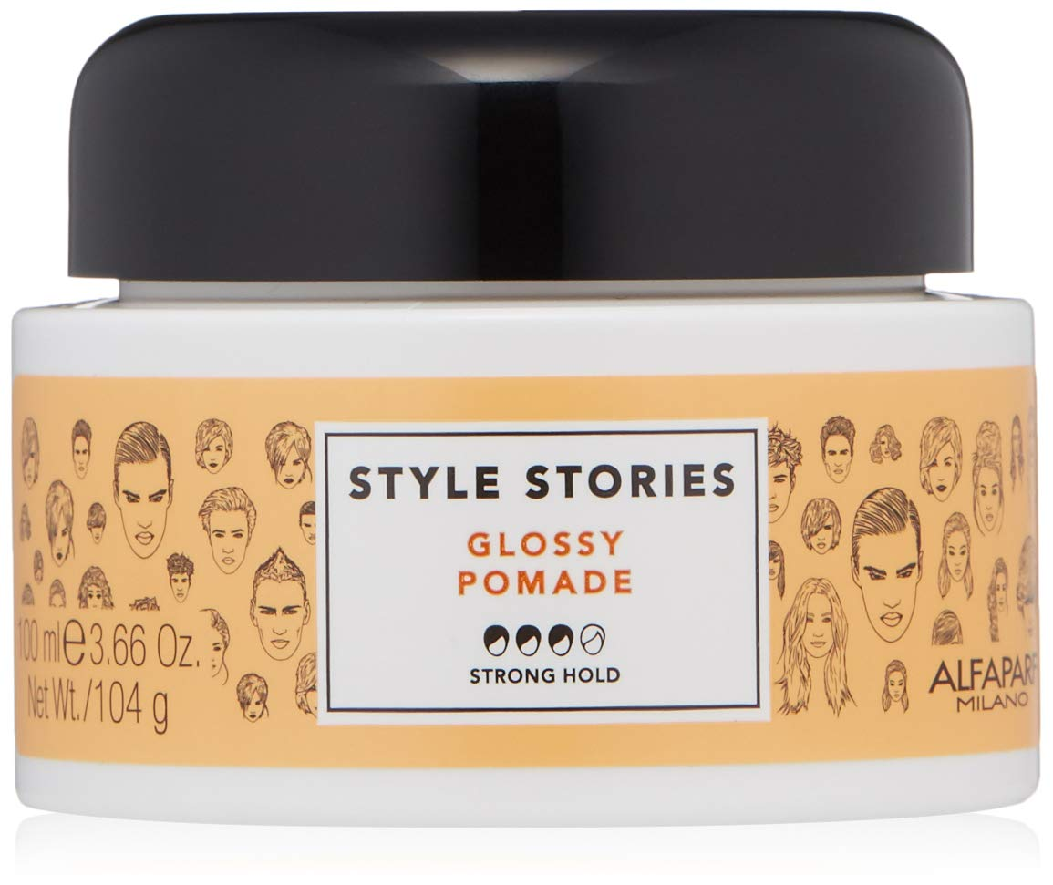 Alfaparf Milano Style Stories Glossy Pomade - Strong Hold - Extra Shiny Finish Wax Pomade - Long Lasting, All Day Hold - Professional Salon Quality Hair Styling Product - 3.66 oz. by Alfaparf Milano
