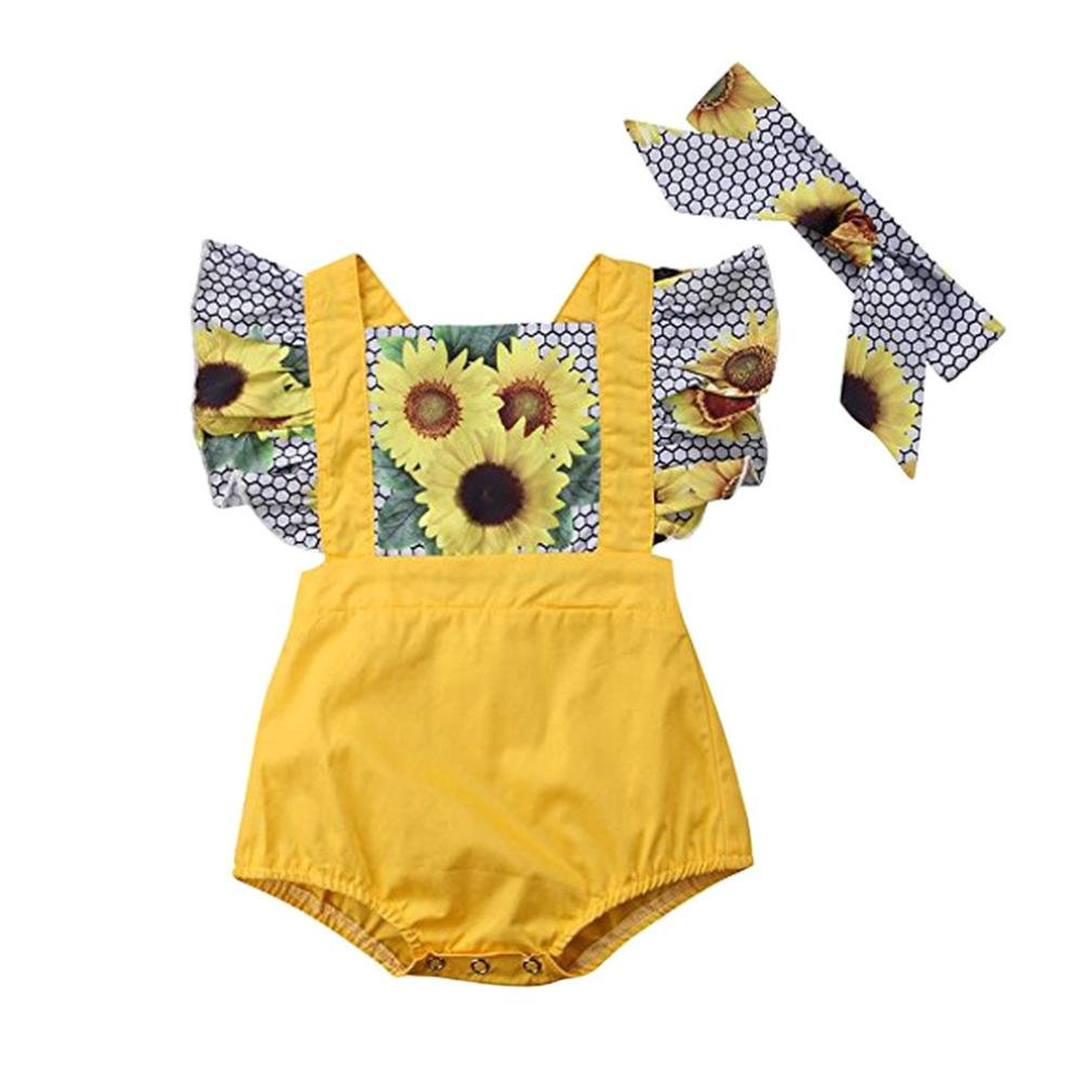 Efaster Baby Girl Sunflower Print Ruffle Patchwork Strap Romper+Headband Outfit