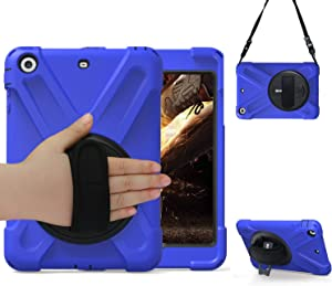iPad Mini 1/2/3 Case with Stand 2012/2013/2014 Release, TSQ Rugged Durable High Impact Defender Hard Silicone Kidsproof iPad Mini123 Cover for Kids Girls Boys with Handle Hand Shoulder Strap | Blue