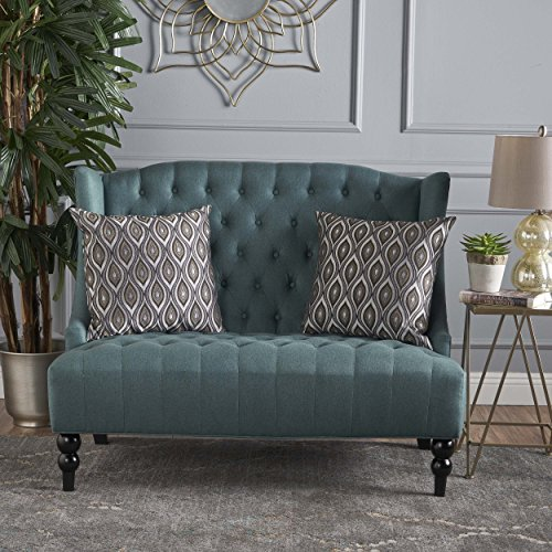 Christopher Knight Home 301392 Leora Tufted Winged Dark Teal Fabric Loveseat Brown