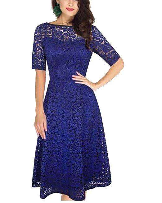 ZhuiKun Encaje Vestido de Mujer Elegante Manga Corta Vestido de Novia Azul S