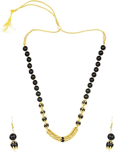 Necklace Set Traditional jewelry Black thread Necklace and Earrings set  I  Gorgeous premium quality set Black Thread Jewelry