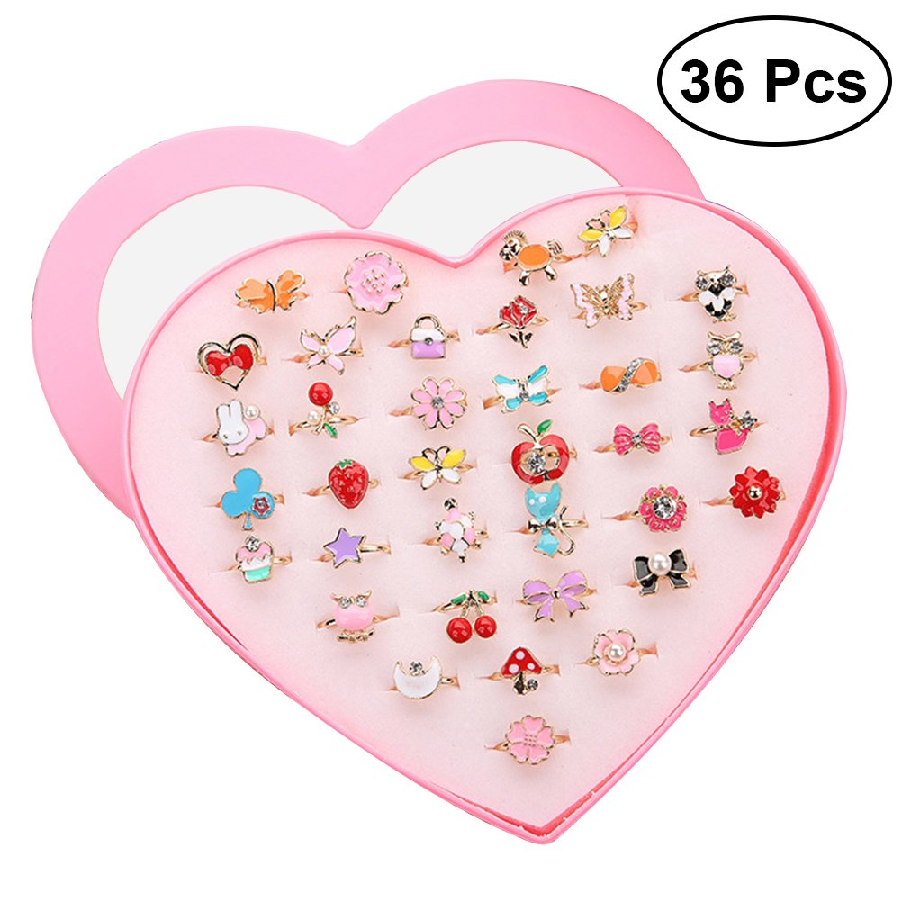 TOYMYTOY Rings Sparkle with Heart Shape Display Case for Kids Birthday Party Favors,36pcs