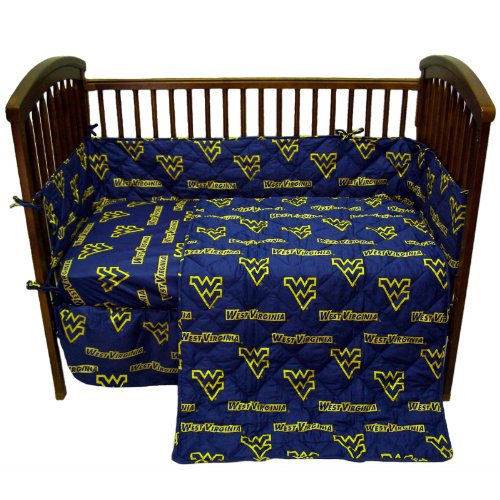 (College West Virginia Mountaineers Navy Blue Crib Set )