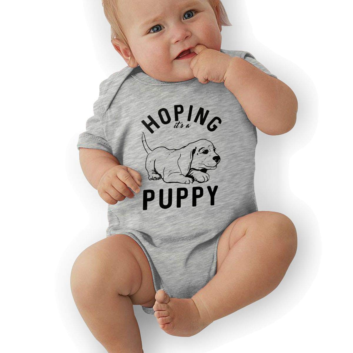 BONLOR Hoping Puppy Baby Boys Girls Jumpsuits Short Sleeve Romper Bodysuit Bodysuit Jumpsuit Outfits Gray