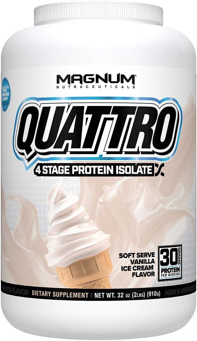 Magnum Nutraceuticals Quattro Protein Powder – 2lbs – Vanilla Ice Cream – Pharmaceutical Grade Protein Isolate – Lactose Free – Gluten Free – Peanut Free