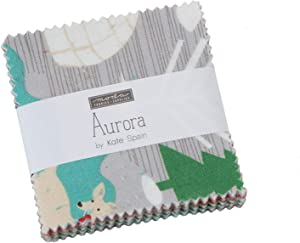 Aurora Mini Charm Pack by Kate Spain; 42-2.5 inch Precut Fabric Quilt Squares