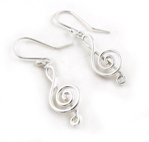 Sterling Silver Treble Clef Earrings - SIZE: 17mm 6112. Gift boxed. 1J1DEtG