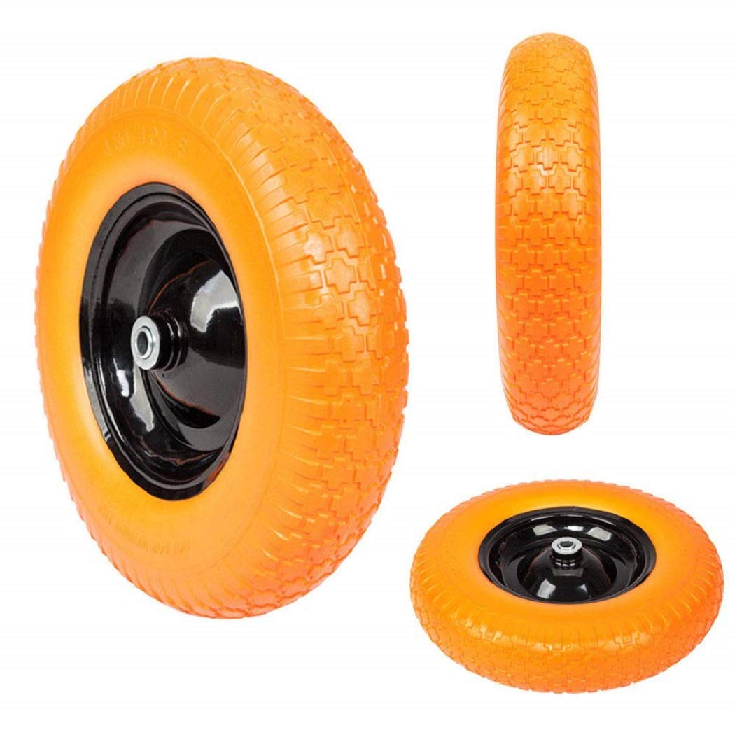 16'' Flat Free Wheel Barrow Wheelbarrow Tire Solid Foam 5/8 Axle Cart Wagon by SHG
