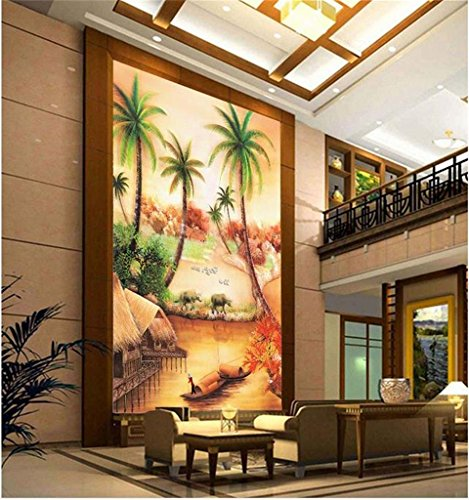 Duleen 3D Mural Wallpaper Custom Made Decoration Pastoral Landscape Ative Painting Porch Background Wall Sticker 140Cmx90Cm|55.11(in) X35.43(in) ()
