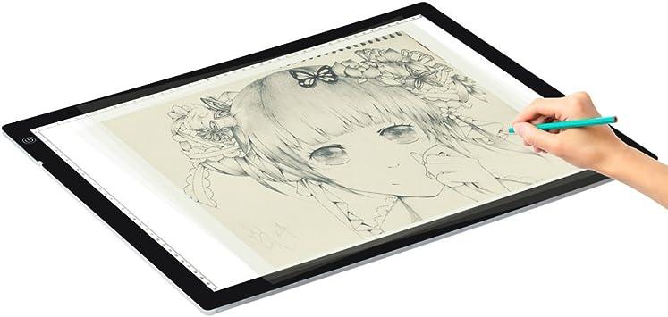 Huion A3 LED Tabla Mesa Caja Luminosidad Ajustable a LED Dibujo Pintura Tracing Board para tracciato luz Pad: Amazon.es: Electrónica
