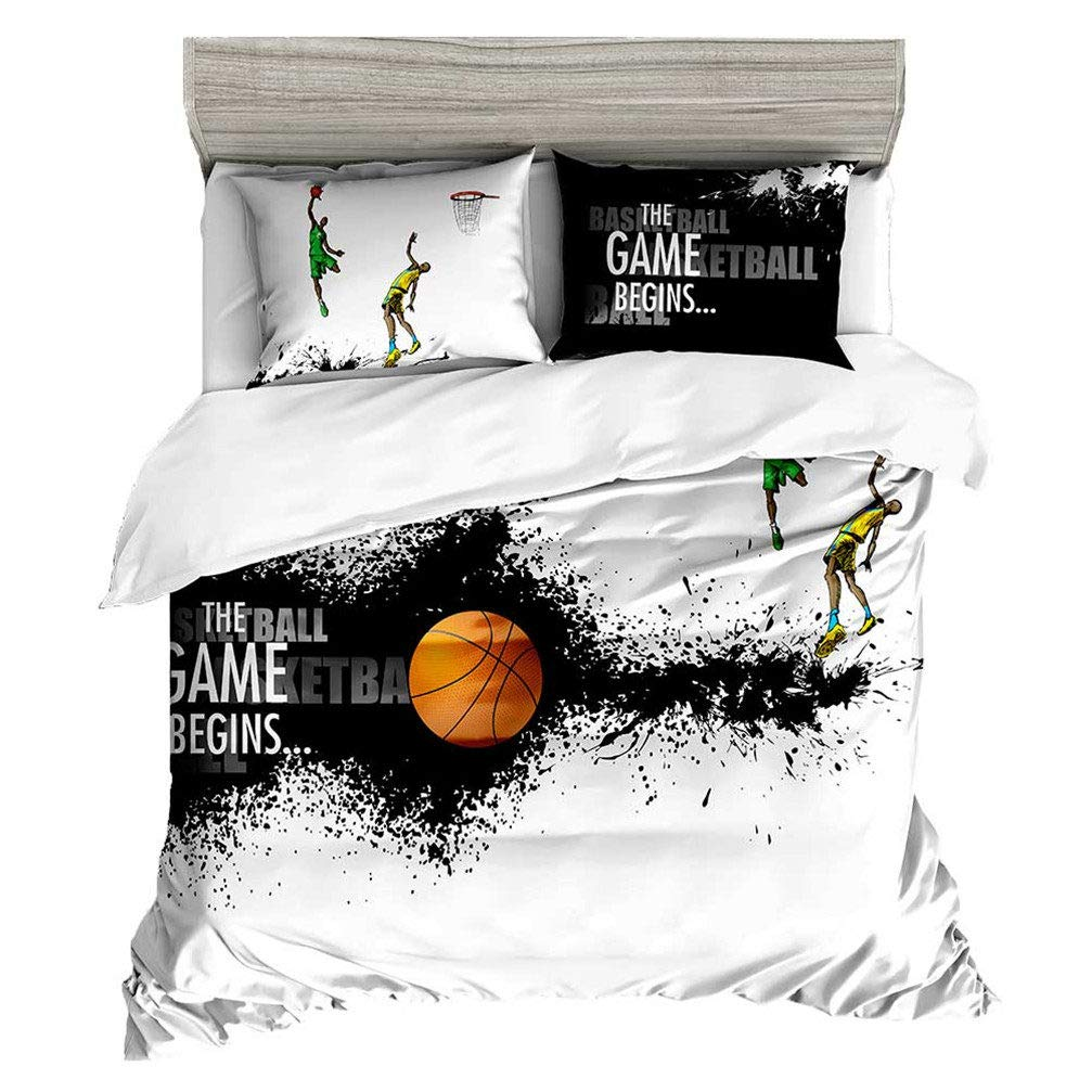 Beddingwish Basketball Playing Games Pattern Bedding Set,3D Microfiber Table Tennis Sports Bed Set Men Teens Boys, Full/Queen Size