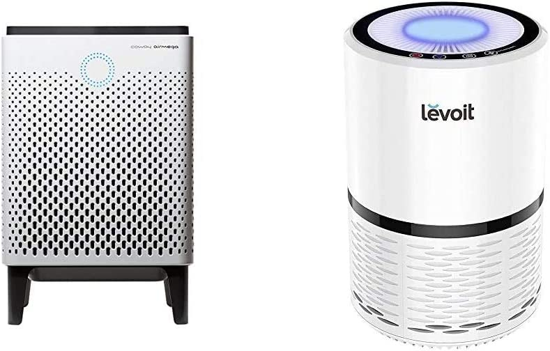 Coway Airmega 300 Smart Air Purifier with 1,256 sq. ft. Coverage & LEVOIT H13 True HEPA Filter Air Purifiers, Large Room with Optional Night Light, LV-H132