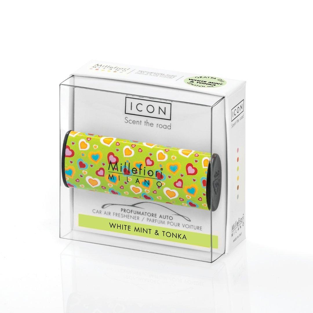 Car air freshener Icon - Cuori e fiori- White Mint & Tonka MILLEFIORI MILANO 16car08