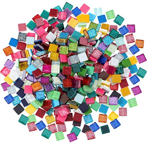 Chengu 400 Piece/ 300 g Assorted Colors Mosaic Tiles Glitter Crystal Mosaic Home Decoration for DIY Crafts Supply, Square, 1 by 1 cm
