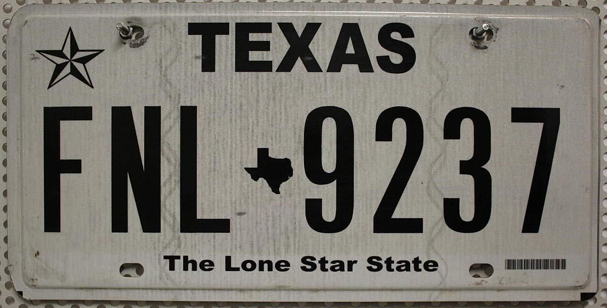Schwarz-Wei/ß # KFZ Blechschild USA Nummernschild TEXAS # US Kennzeichen THE LONE STAR STATE # Typ Farbgebung