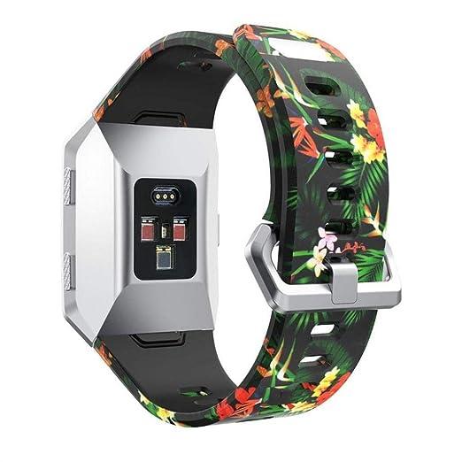 Scpink para Fitbit Ionic Strap, Silicone Sport Fashion Pattern Correa de Silicona Reemplazo de la