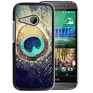 Planetar® ( Feather Sun Iridescent Teal ) HTC ONE MINI 2 / M8 MINI Fundas Cover Cubre Hard Case Cover
