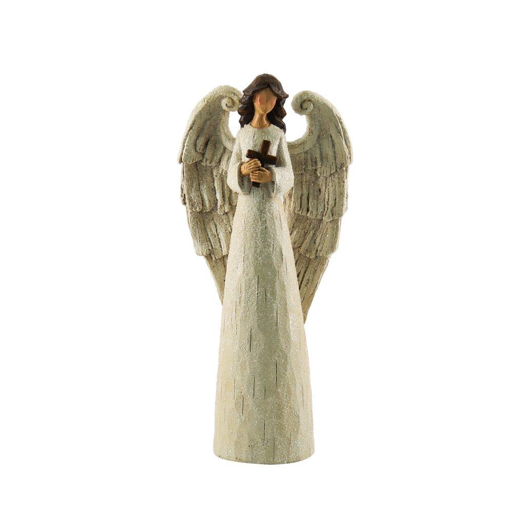Figura Ángel de la Navidad- Blanco y con una cruz