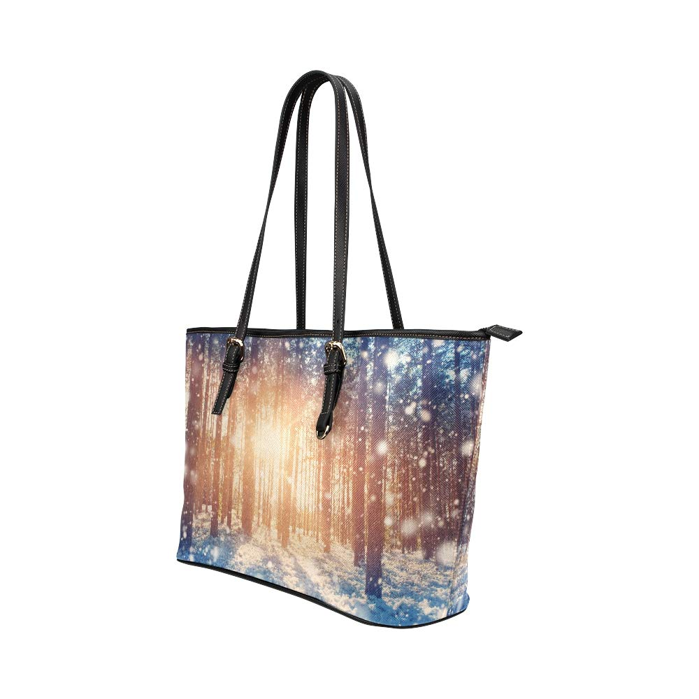 Winter Frosty Snow Forest Landscape Large Soft Leather Portable Top Handle Hand Totes Bags Causal Handbags With Zipper Shoulder Shopping Purse Luggage Organizer For Lady Girls Womens Work