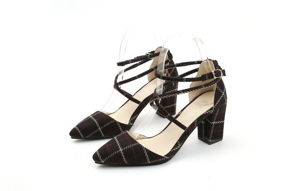 RUGAI-UE Pointed Schuhe, Schuhe, Designer, Mode, Checker und Frauen  US7/EU39/UK6/CN39|black