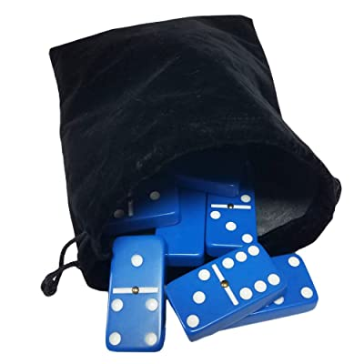 Marion & Co. Domino Double Six 6 Blue Tiles Jumbo Tournament Professional Size with Spinners in Black Elegant Velvet Bag: Toys & Games