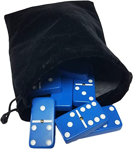 Domino Double Six 6 Two Tone Red and White Tiles Jumbo Tournament Professional Size with Spinners in Black Elegant Velvet Bag Marion /& Co.