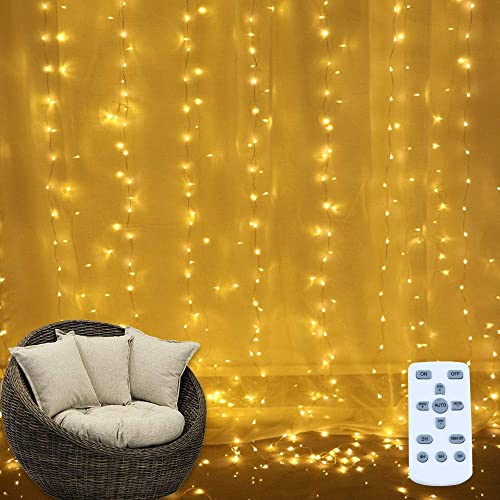 Light Sea USB 300 Individual LED Window Curtain String Light, 6.6ft X 9.8ft Waterproof Outdoor Indoor Fairy Lights with 8 Modes for Decor, Wedding, Bedroom, Party Cafe, UL Listed. Warm White