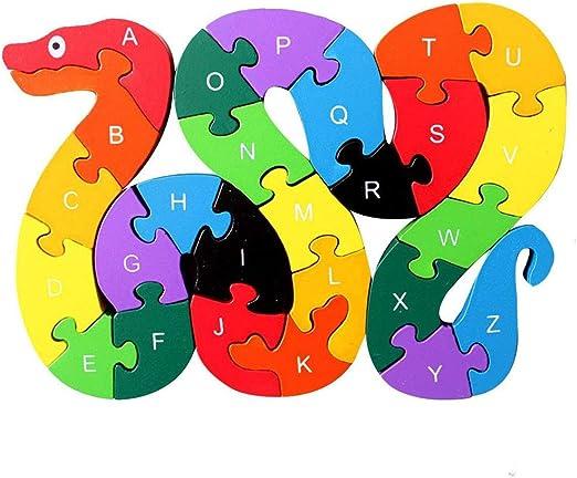 26pcs Alphabet Wooden Puzzle Jigsaw Kids Number Block Preschool Snake Toy SL