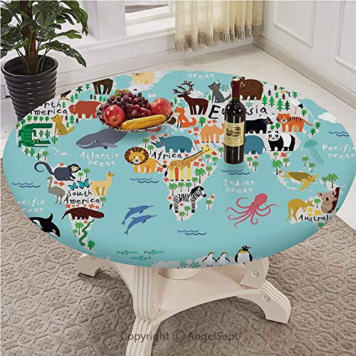 Elastic Edged Polyester Fitted Table Cover with Pull Rope - Large Round - Fits tables up to 30