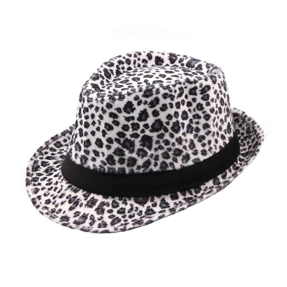 Felt Trilby Hat Men Women Autumn Winter Leopard Fedora Jazz Hats Multicolor DH1442C