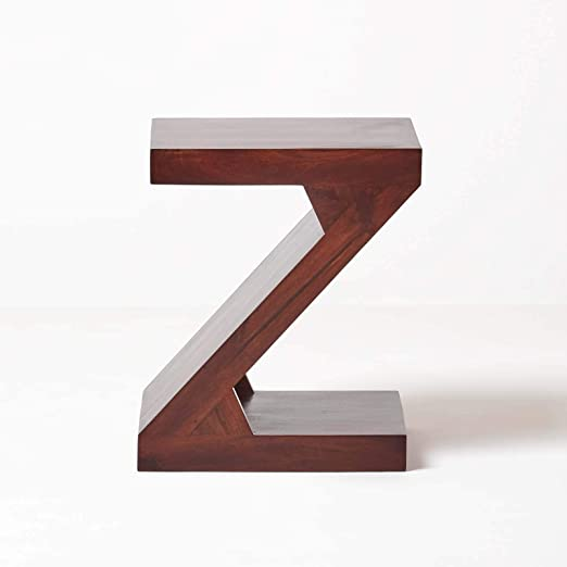 Homescapes Dark Wood Z Shaped Side Table Or End Table Handcrafted 100 Solid Mango Wood Furniture No Veneer