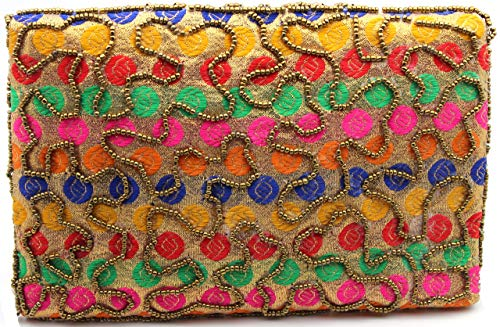 SMyL Factory Jaipuri Designer Hand Embroidered Women's Clutch Sling Purse For Casual, Party (Multicolor)